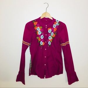 johnny was / embroidered floral button down blouse